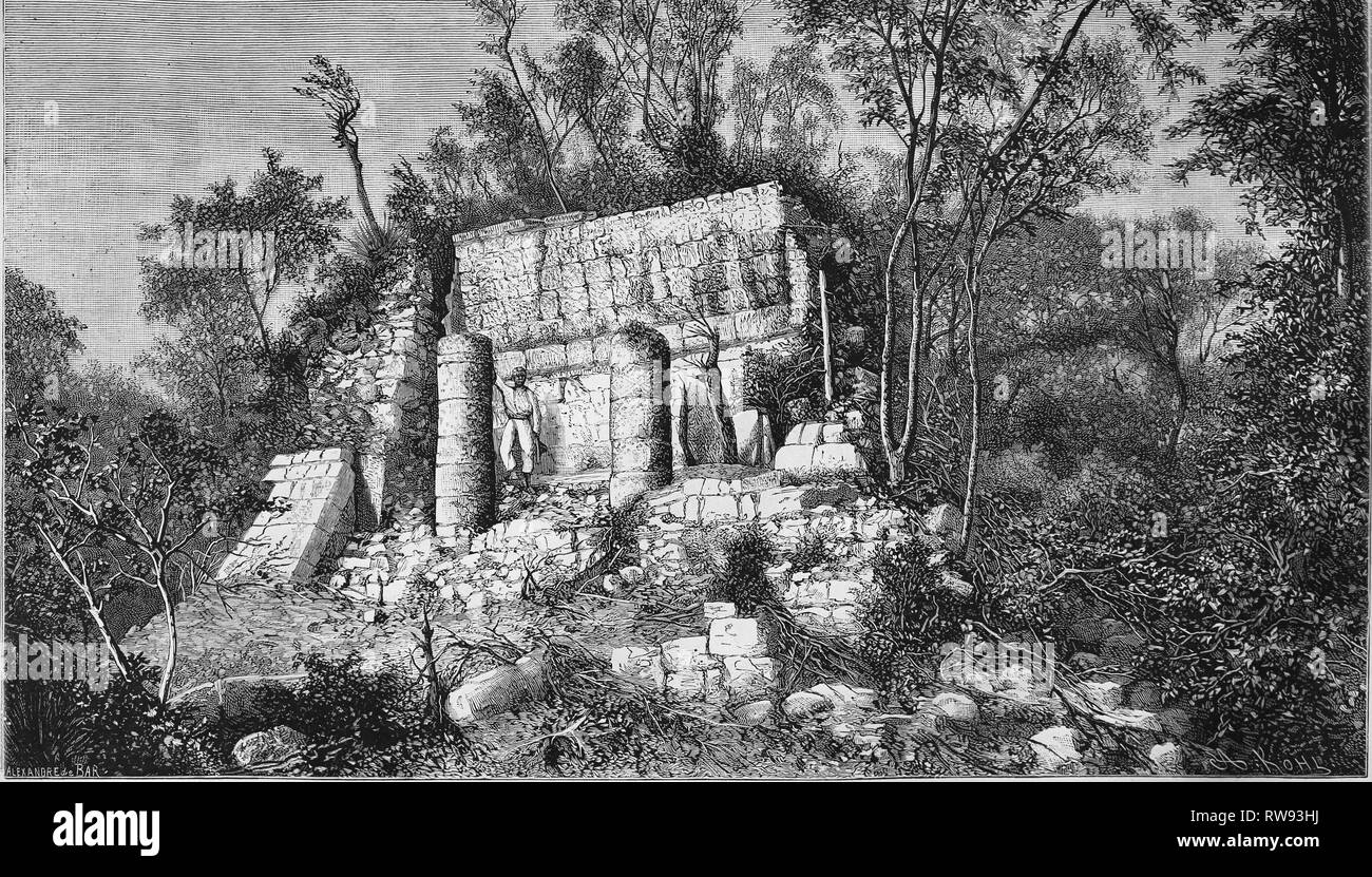 America. Ballcourt of Chichen Itza. Mexico. Engraving, 19th c. My Discoveries in Mexico and Central America, by Desire Charnay. - Stock Image