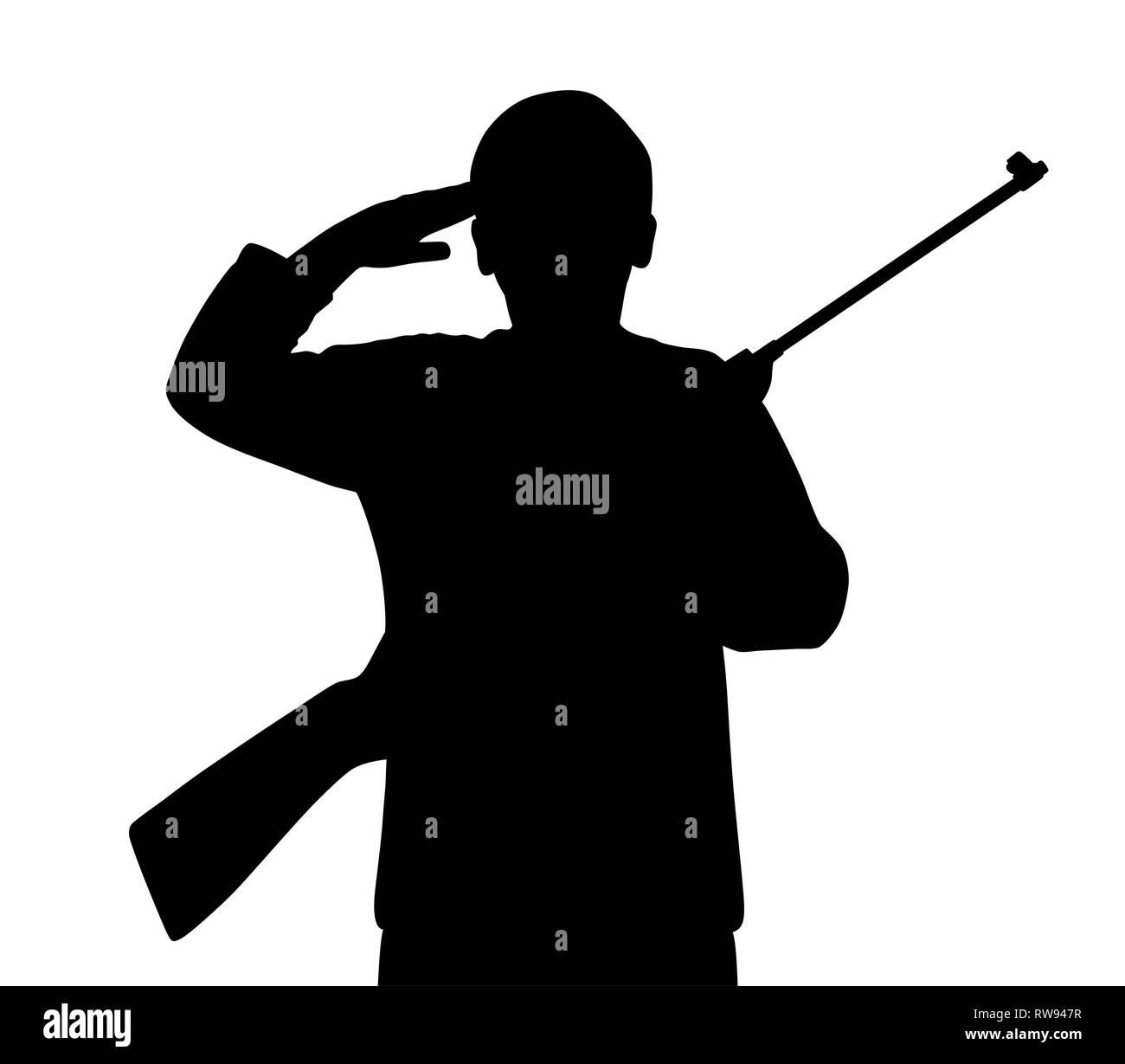 Young man saluting with gun - Stock Image