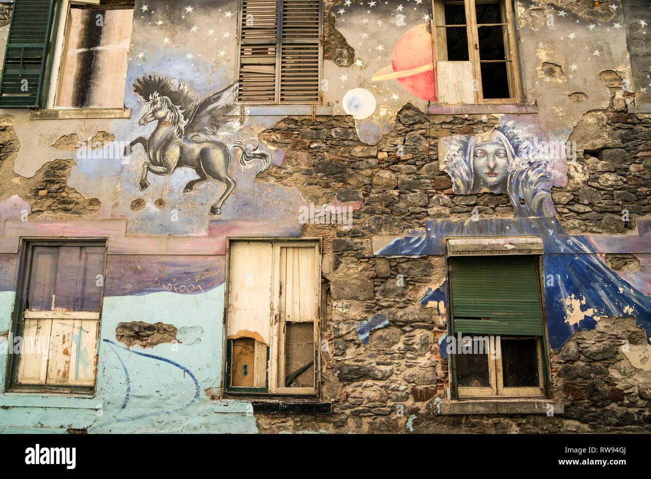 Kunstprojekt mit bemalten Türen und Fassaden in der Altstadt von Funchal, Madeira, Portugal, Europa    Art project Painted doors and facades in Funcha - Stock Image