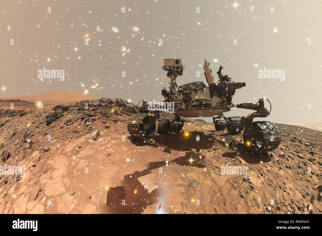 Curiosity Mars Rover exploring the surface planet of Mars. Elements of this image furnished by NASA. - Stock Image