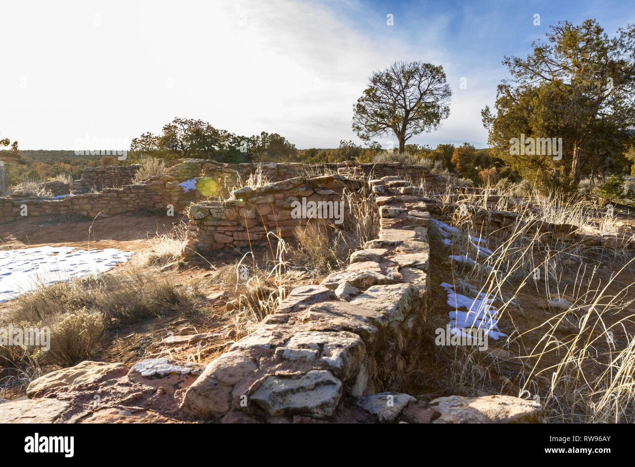 Mule Canyon Ruins alongside highway between Blanding and  Natural Bridges National Monument, Ancient construction with sandstone bricks - Stock Image