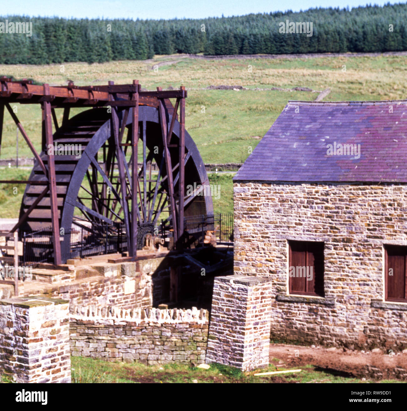 The Killhope Wheel.A 19th century wheel at this lead mining site in the North Pennines of County Durham. - Stock Image