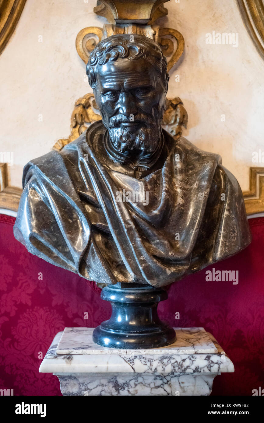 Rome. Italy. Portrait bust of Michelangelo Bunarroti (1475-1564), after the original by Daniele da Volterra, (1509-1566), Capitoline Museums. Musei Ca - Stock Image