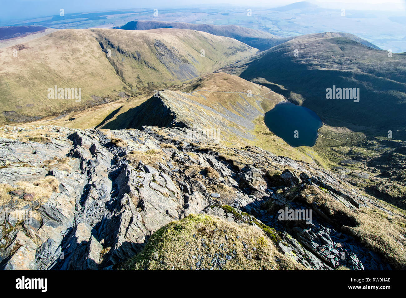 Looking down Sharp Edge from Blencathra summit - Stock Image