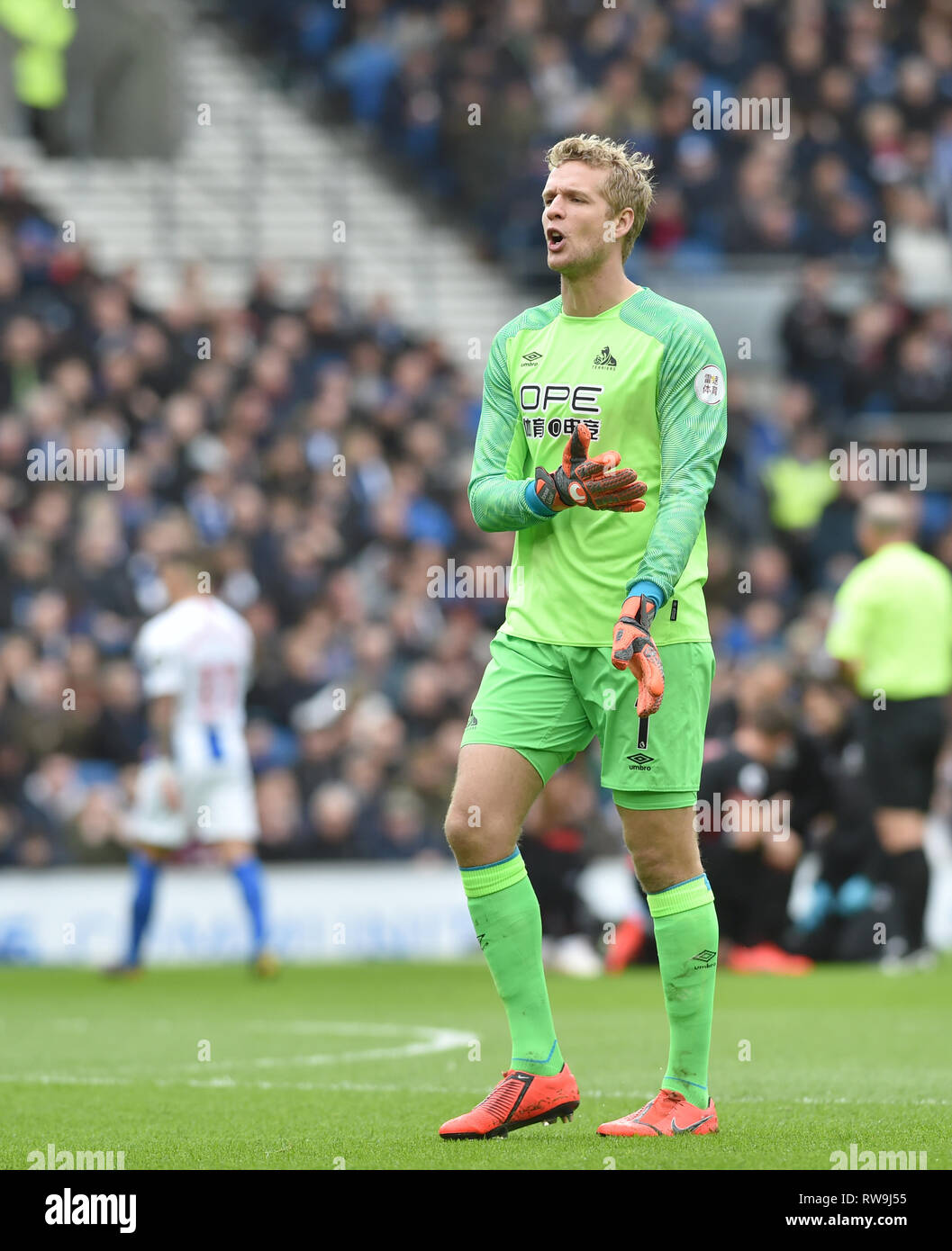 Jonas Lossl of Huddersfield during the Premier League match between Brighton & Hove Albion and Huddersfield Town at the American Express Community Stadium . 02 March 2019 Editorial use only. No merchandising. For Football images FA and Premier League restrictions apply inc. no internet/mobile usage without FAPL license - for details contact Football Dataco - Stock Image