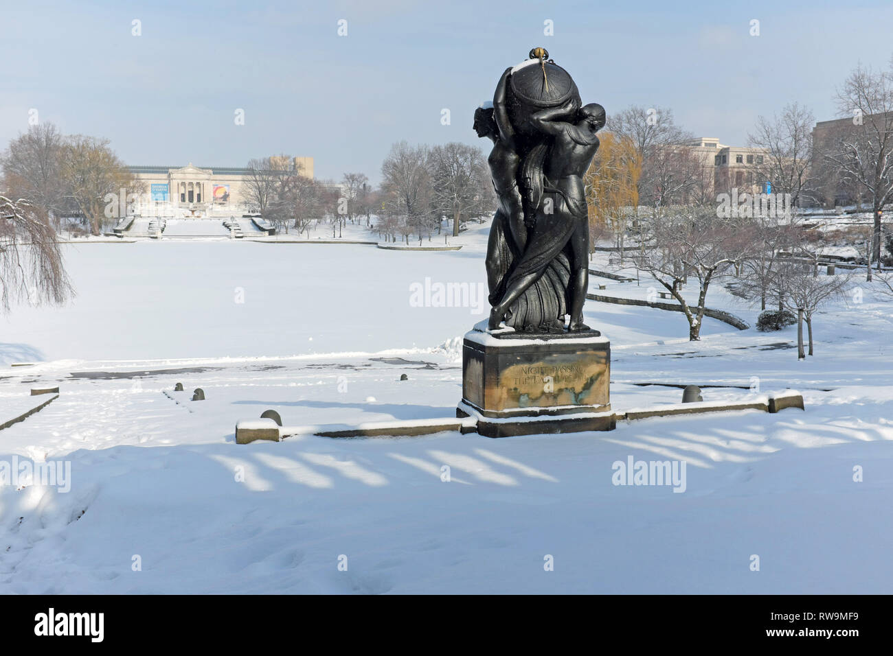 A snow-covered landscape in the University Circle neighborhood of Cleveland, Ohio, USA with the Cleveland Museum of Art in the background. Stock Photo