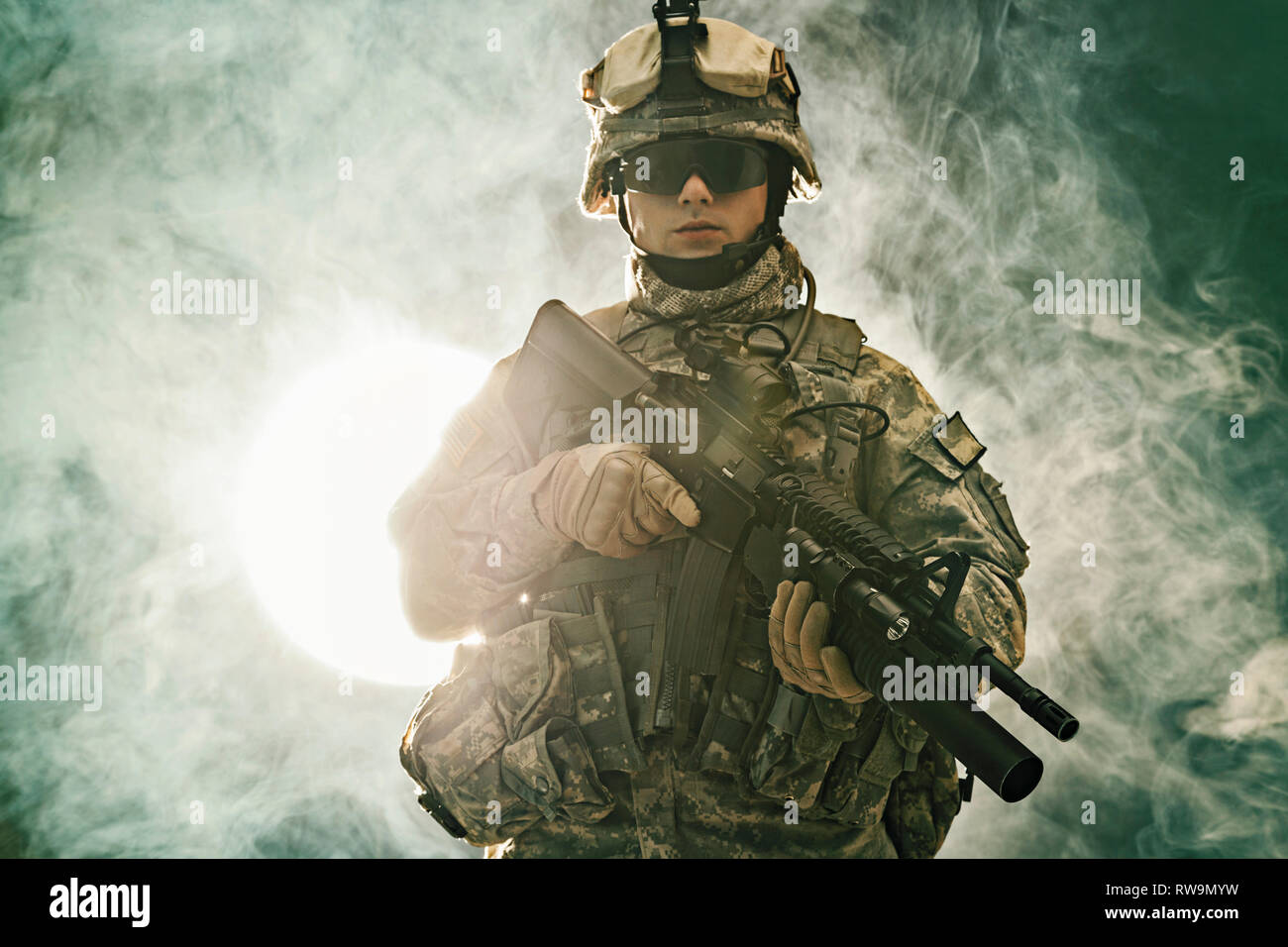 United States paratrooper airborne infantry in the smoke. Stock Photo
