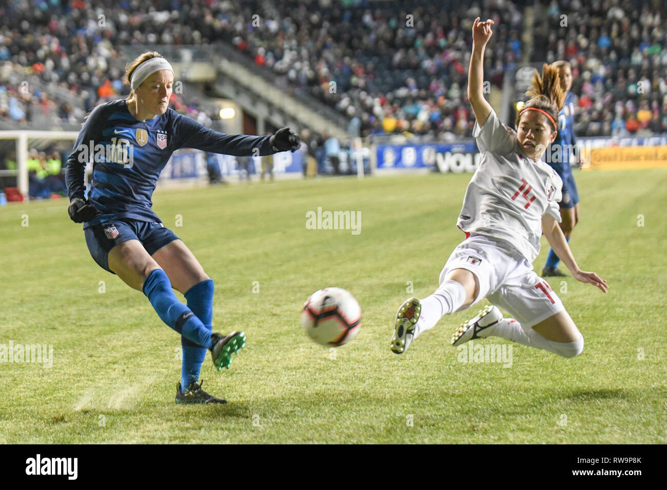 Rose Lavelle in a 2019 world cup friendly - SheBelieves Cup featuring the United States women's national team . Professional women soccer players - Stock Image