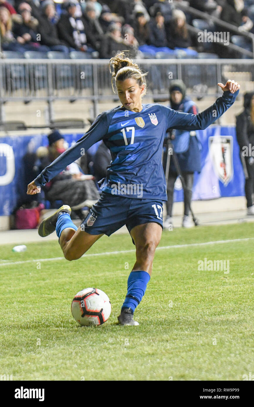 Tobin Heath SheBelieves Cup featuring the United States women's national team versus the Brazil women's national team. Professional women footballers - Stock Image