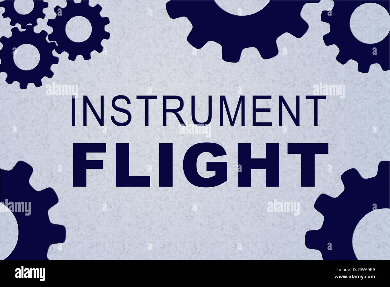 INSTRUMENT FLIGHT sign concept illustration with blue gear wheel figures on pale blue background - Stock Image