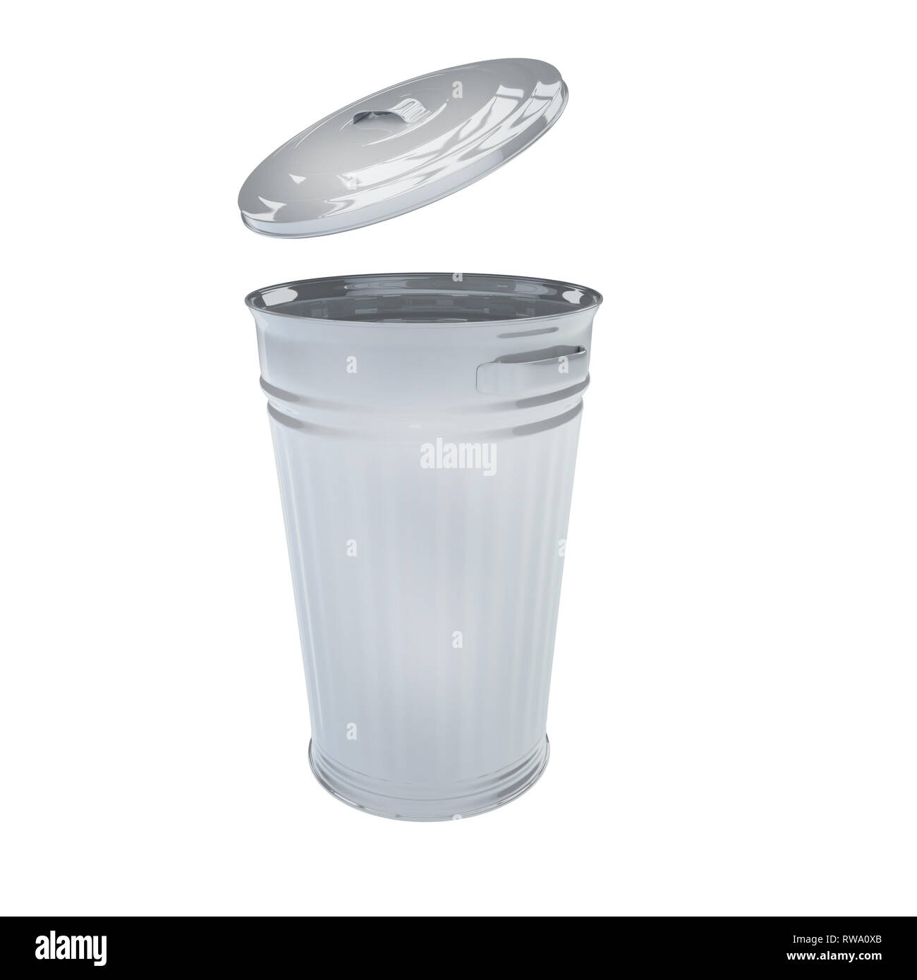 3D Render Illustration Of Retro Galvanized Trash Can Isolated On White - Stock Image