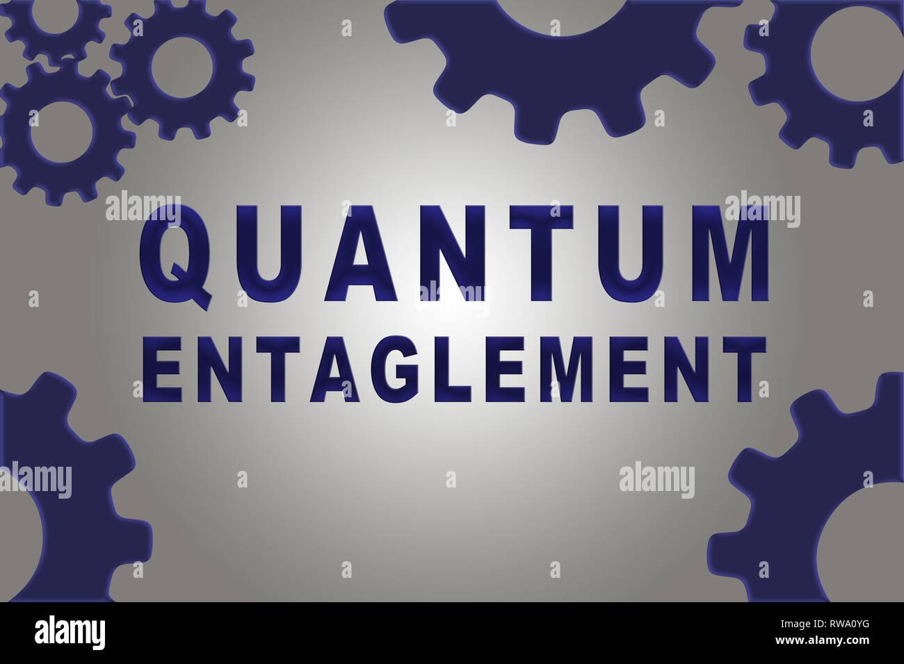 QUANTUM ENTAGLEMENT sign concept illustration with blue gear wheel figures on gray gradient - Stock Image