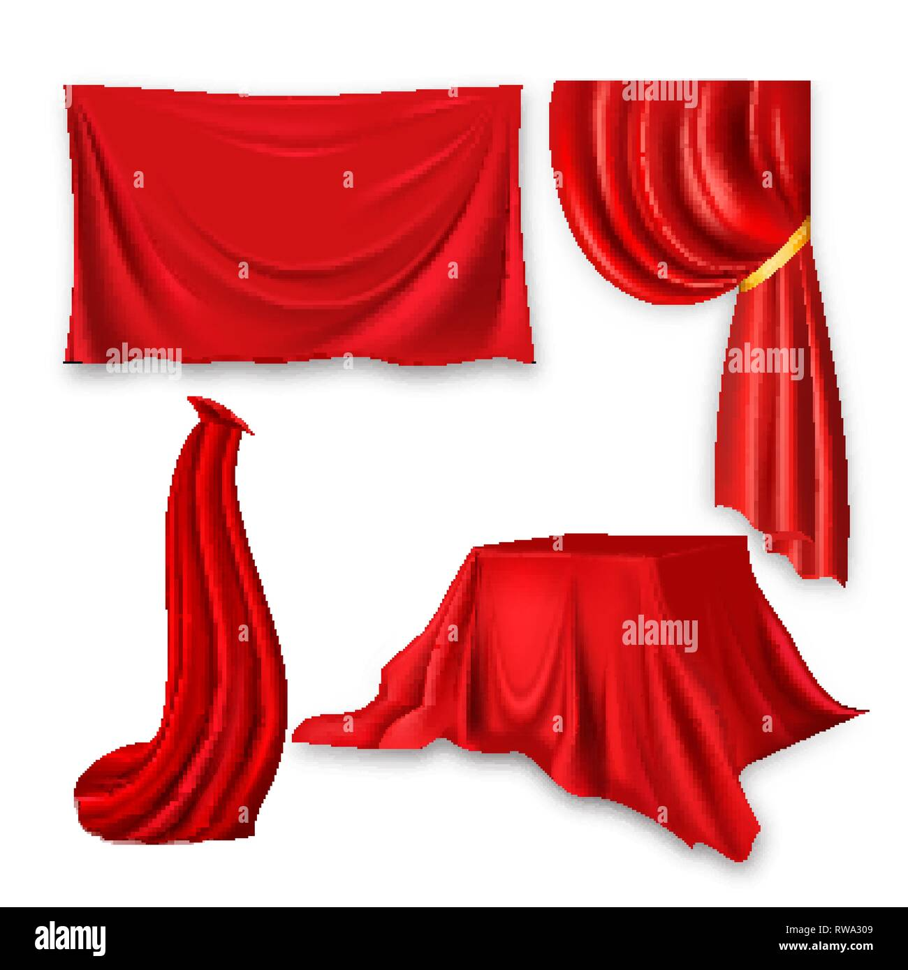 Red Silk Cloth Set Vector. Fabric Cloth Waving Shape. For Presentation. Banner, Stage, Cloak, Curtain. Velvet Theater Or Cinema Luxury Textile Drapery - Stock Vector