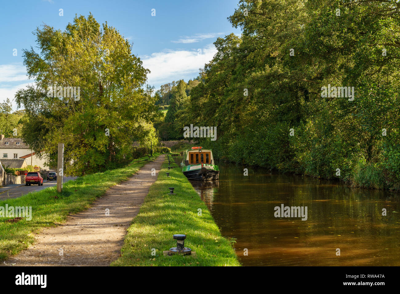 Talybont on Usk, Powys, Wales, UK - October 05, 2017: A narrowboat on the Monmouthshire & Brecon Canal - Stock Image