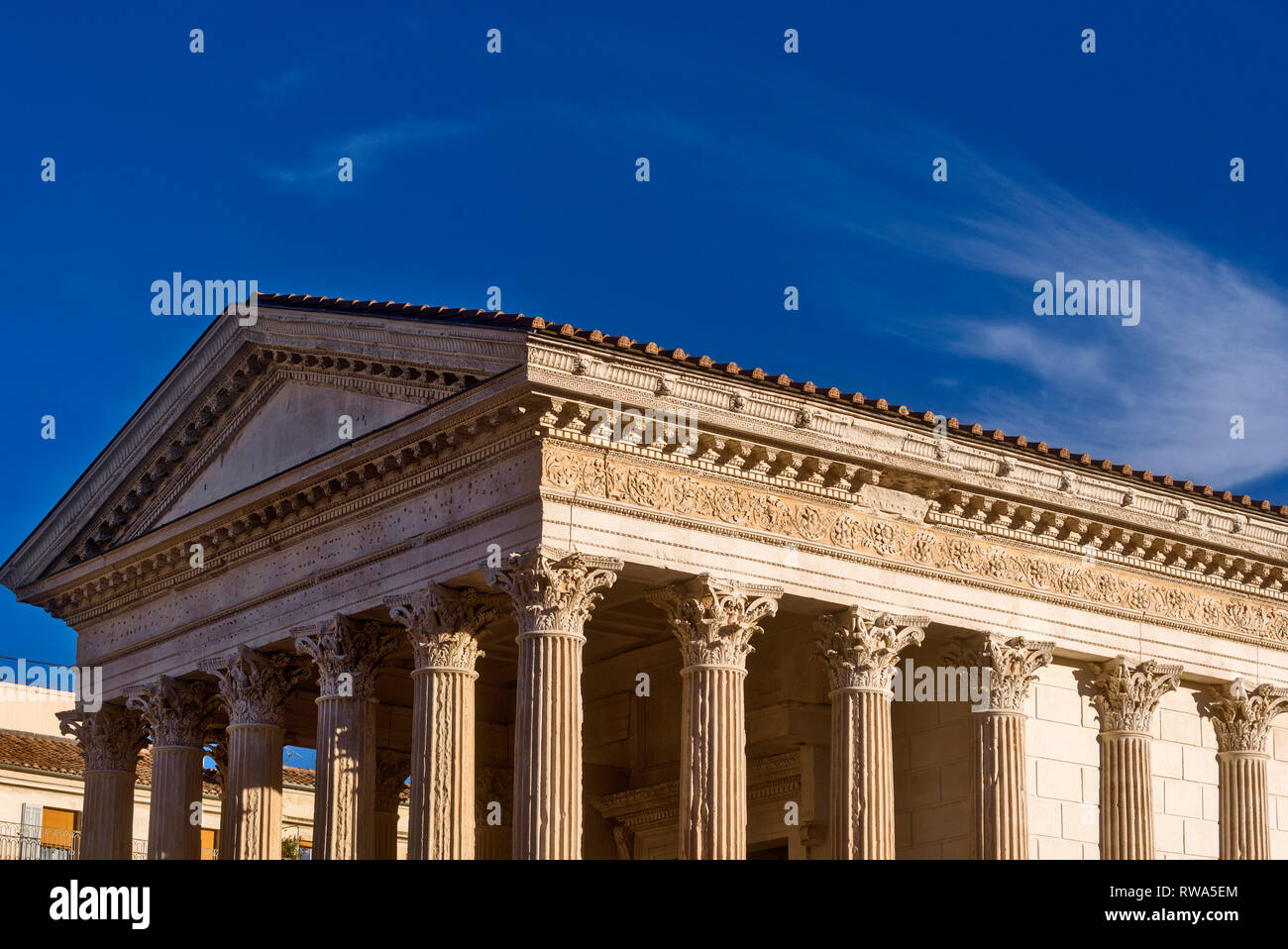 The Maison Carrée is a Roman temple in Nîmes, France - Stock Image
