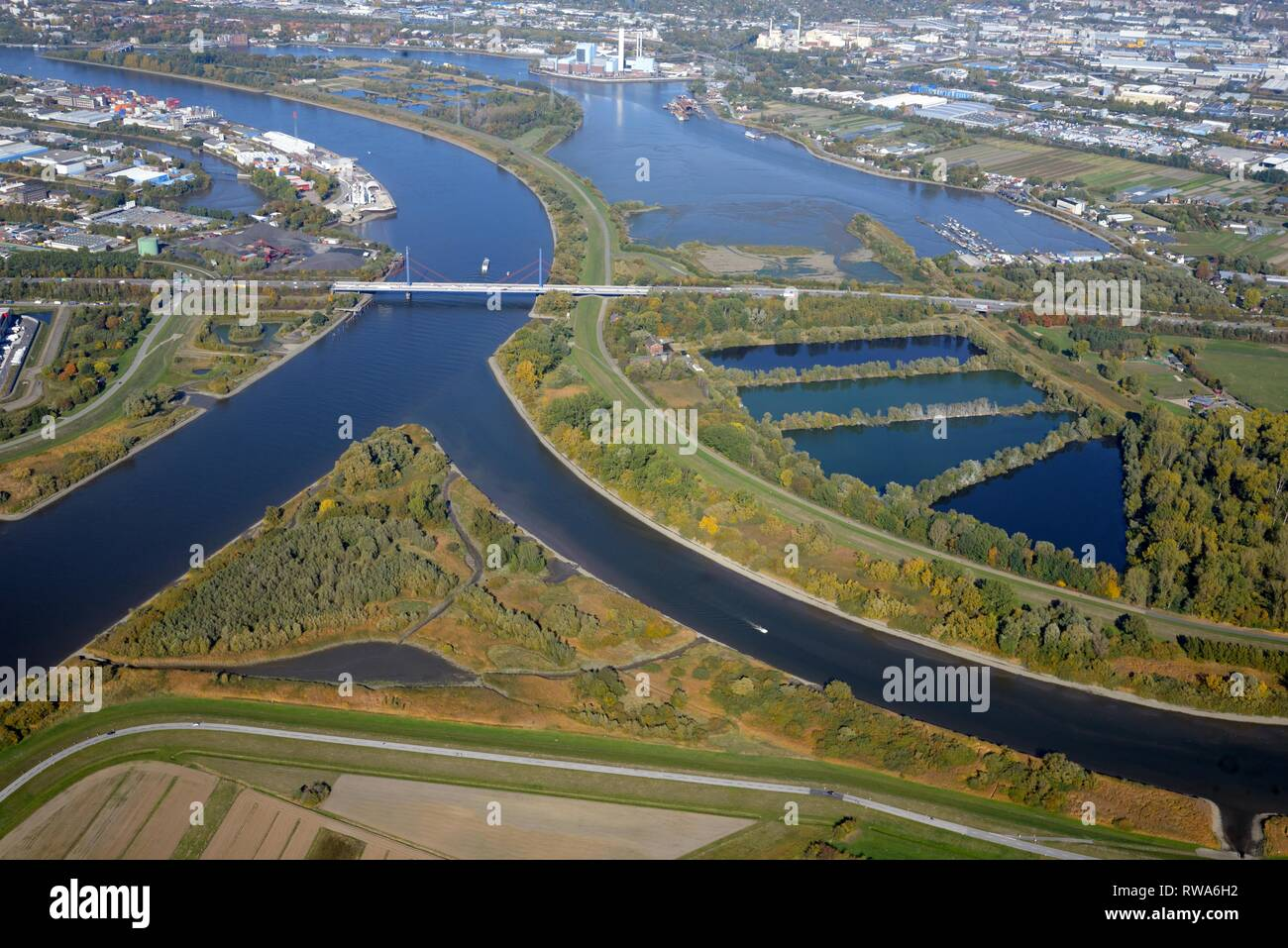 Aerial view, Compensation areas on the Elbe, Hamburg, Germany - Stock Image