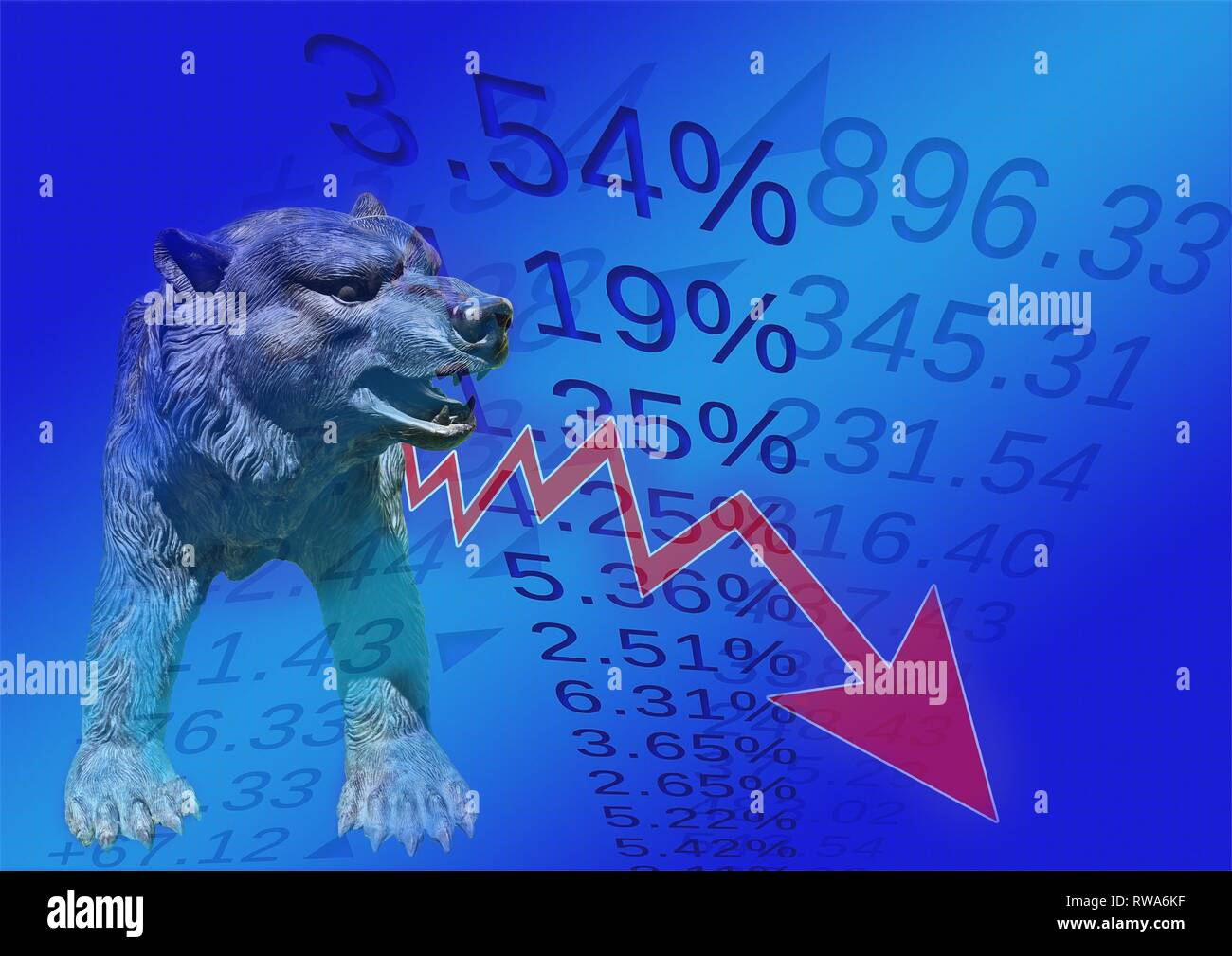 Symbol photo, falling share prices on the stock exchange, red arrow down, bear as a sign, Germany - Stock Image