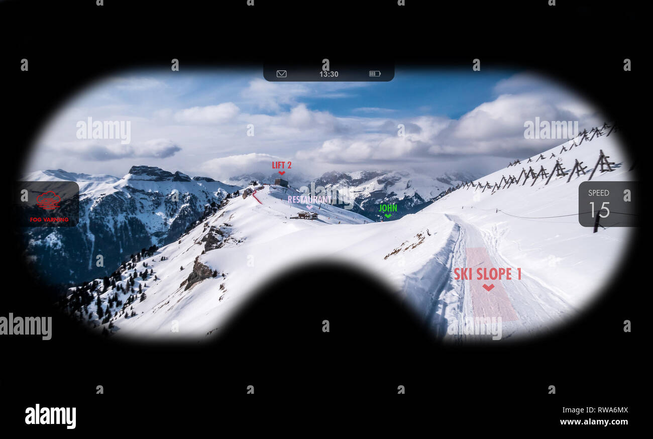 Augmented reality in ski goggles. Information about speed, places and slopes is displayed inside glasses. Concept of skiing in AR. - Stock Image