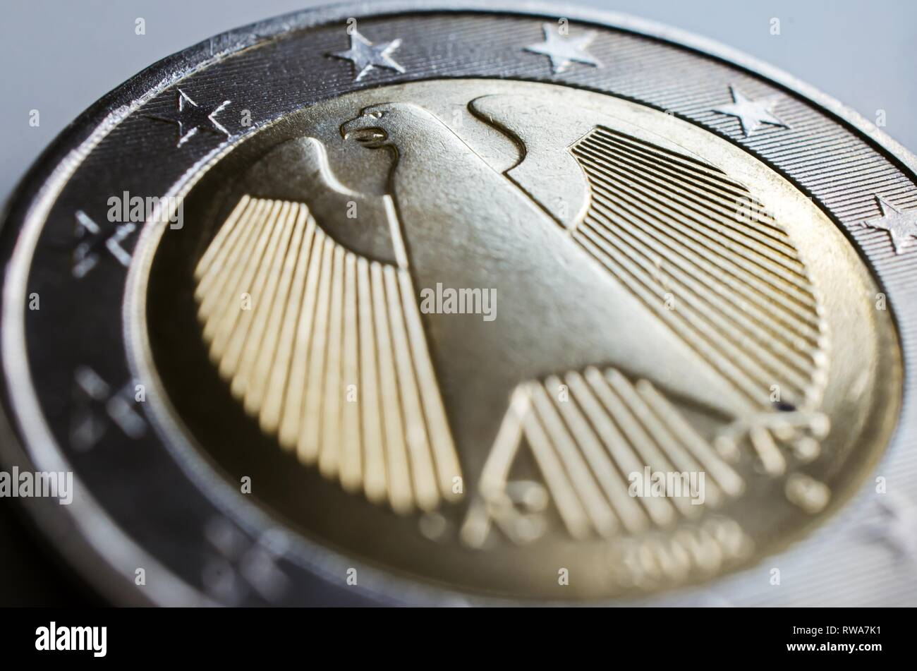 Backside of the German 2 euro coin with the federal eagle, Germany - Stock Image
