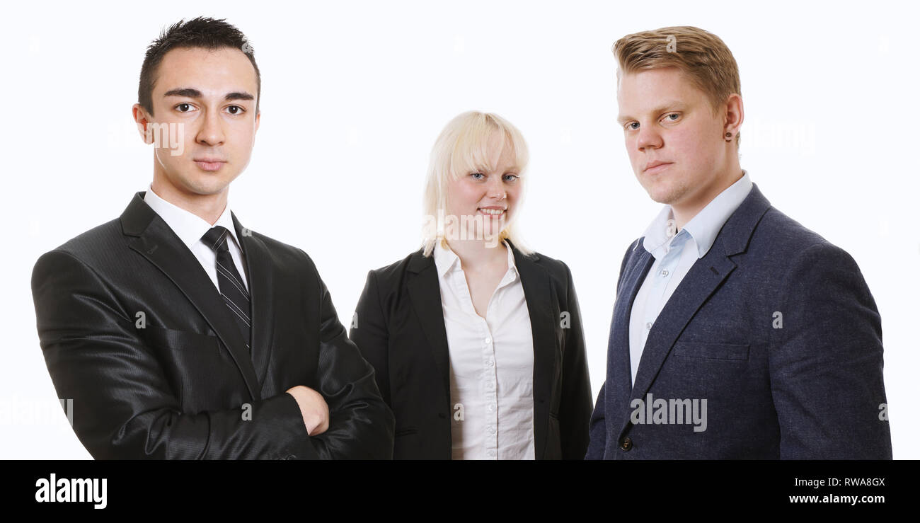 confident young business team standing together - isolated on white in banner format - Stock Image