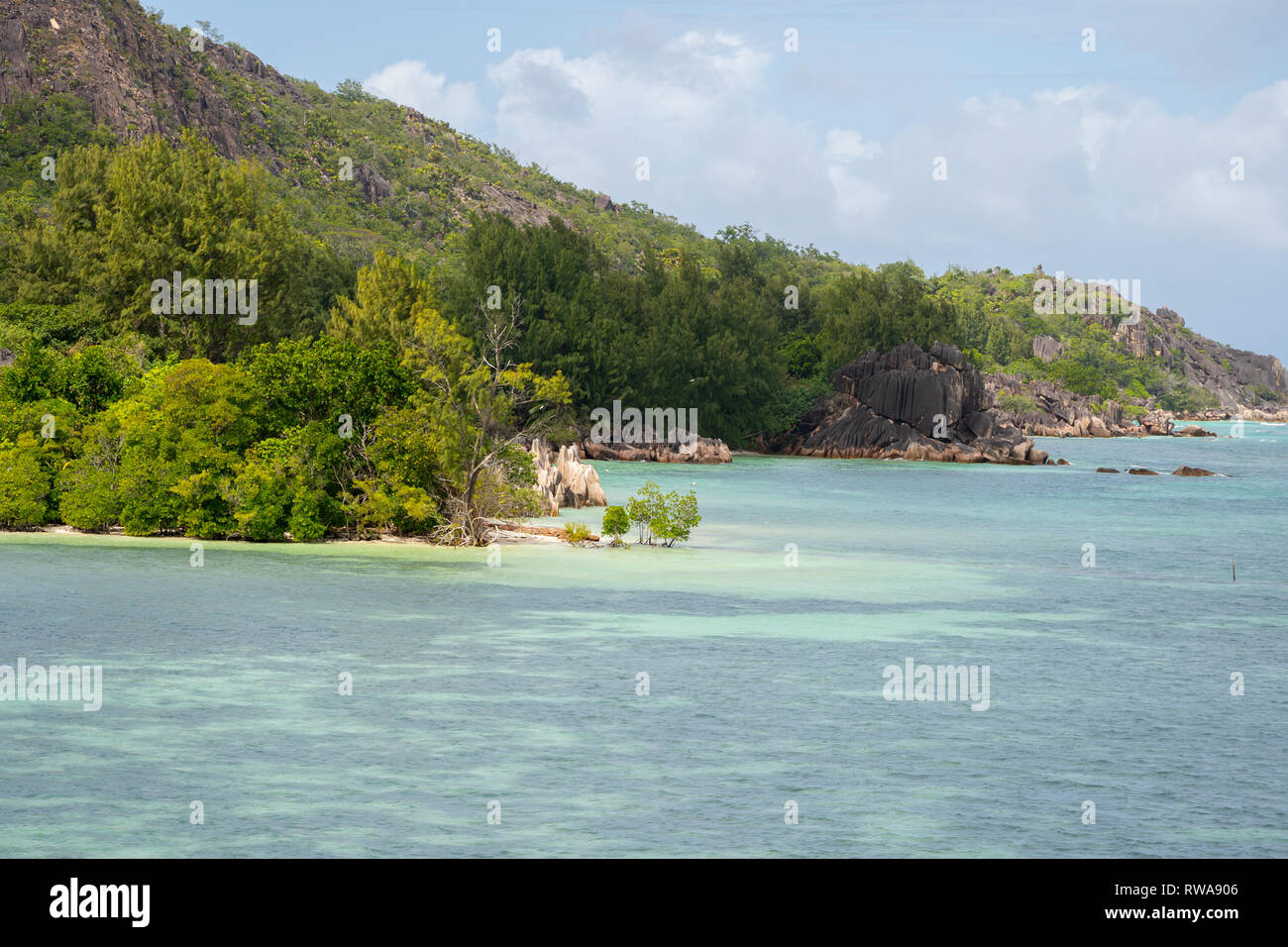 Moyenne Island is a small island (0.099 km2 or 0.038 sq mi) in the Ste Anne Marine National Park off the north coast of Mahé, Seychelles. Since the 19 - Stock Image