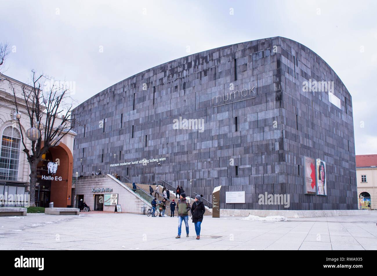 The Museum of Modern Art, Museumsquartier (MQ), Museumsplatz, Mumok, Museum moderner Kunst Stiftung Ludwig Wien in Vienna, Austria, on January 6, 2019 - Stock Image