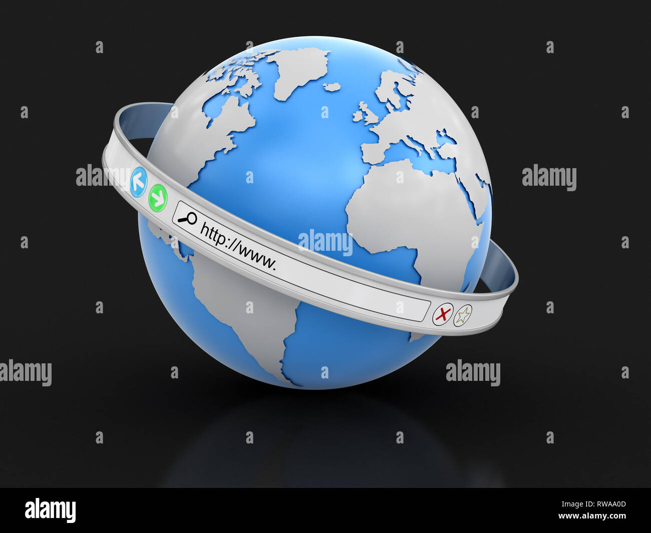 Web browser screen around the Earth. Image with clipping path - Stock Image
