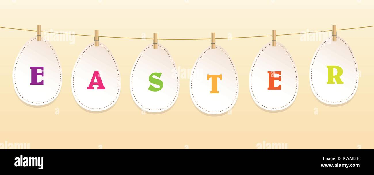 paper easter eggs hang on a ribbon with clothespin vector illustration EPS10 - Stock Image