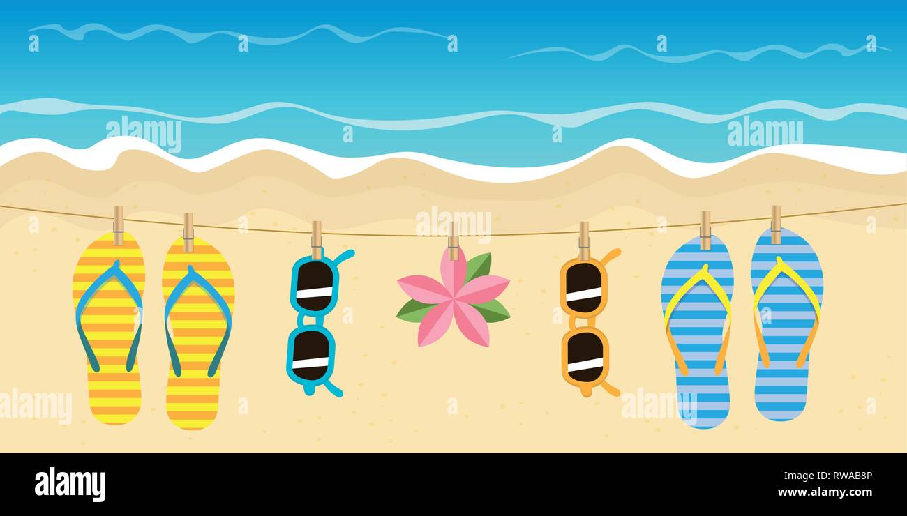 ef9242c494cd striped flip flops and sunglasses hang on a rope on the beach vector  illustration EPS10 -