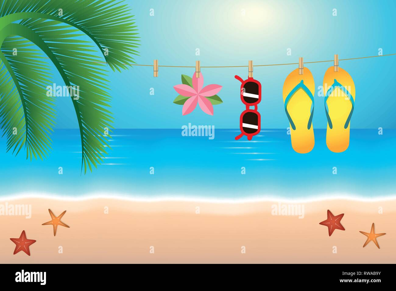 8f414d65fb5de summer holiday flip flops and sunglasses hang on a rope on the beach vector  illustration EPS10