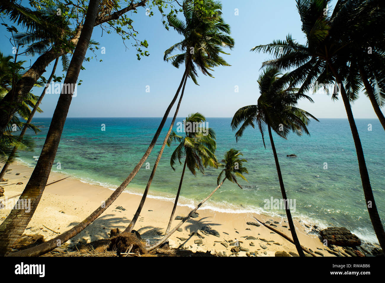 A picturesque beach on Ross Island, officially known as Netaji Subhas Chandra Bose Island. - Stock Image