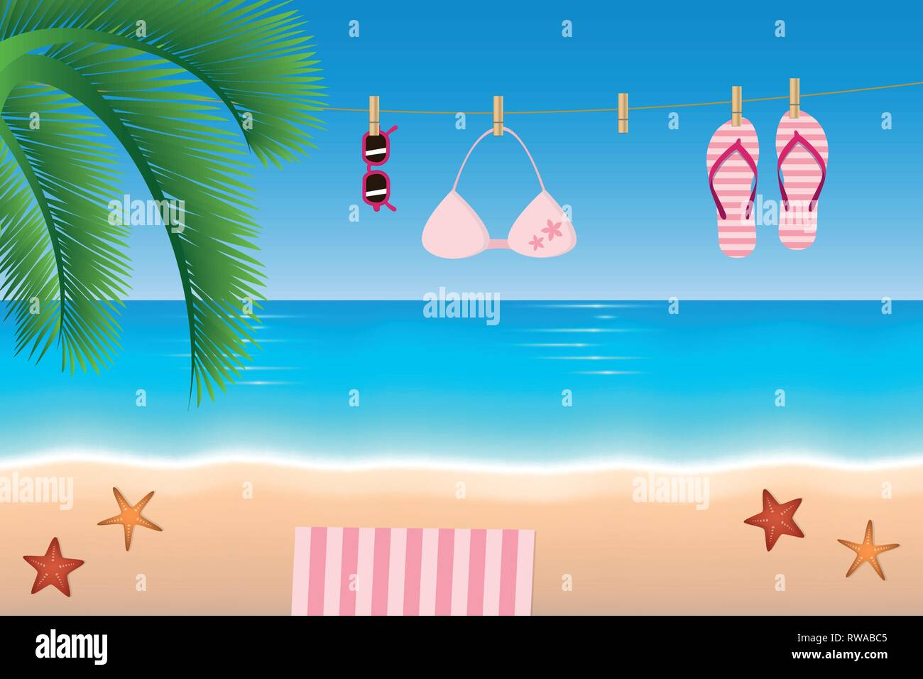 72d79d5e598222 summer holiday flip flops bikini and sunglasses hang on a rope on the beach  vector illustration EPS10