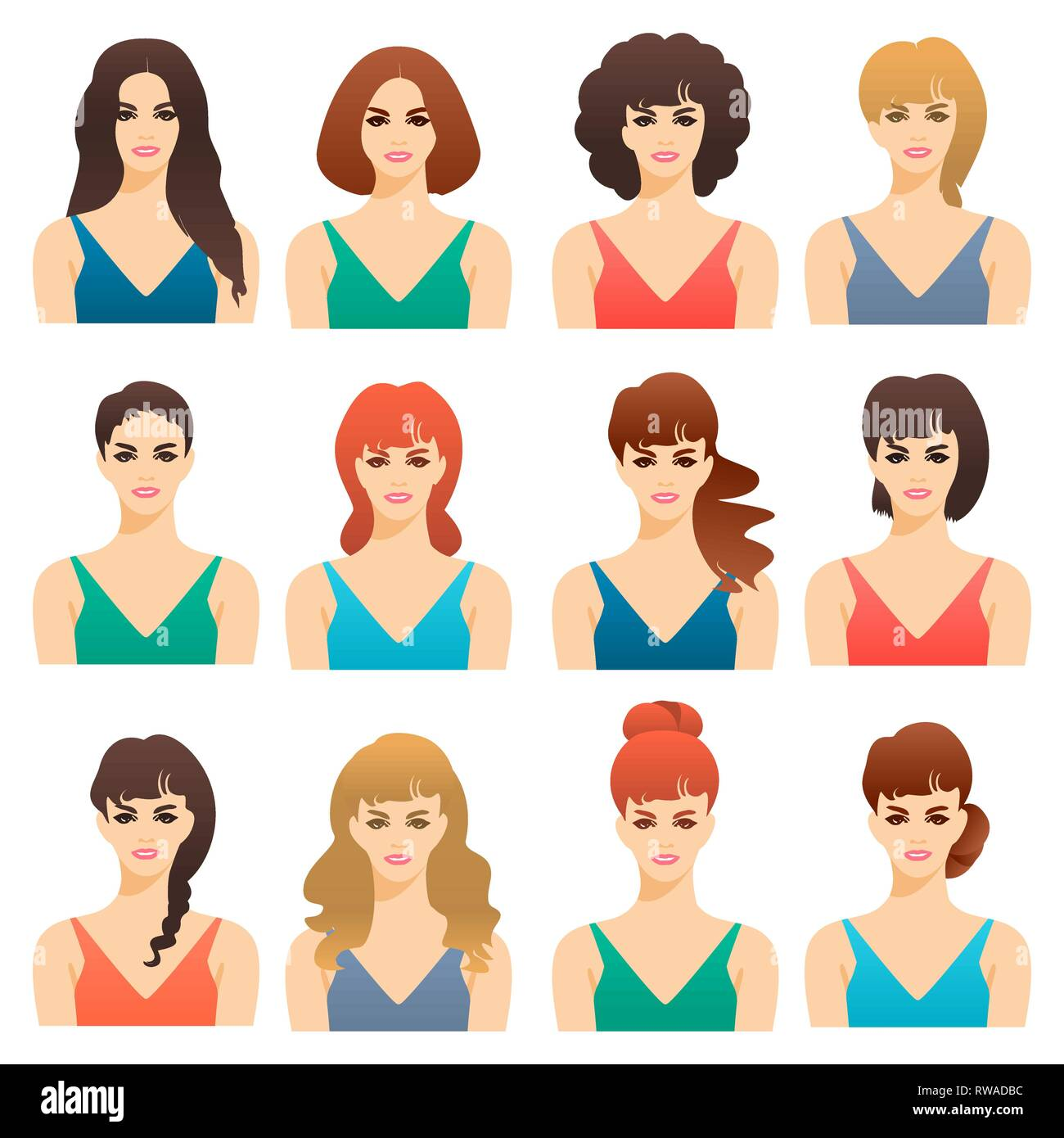 Set Of Cute Girls Women With Different Hairstyles And Color Vector