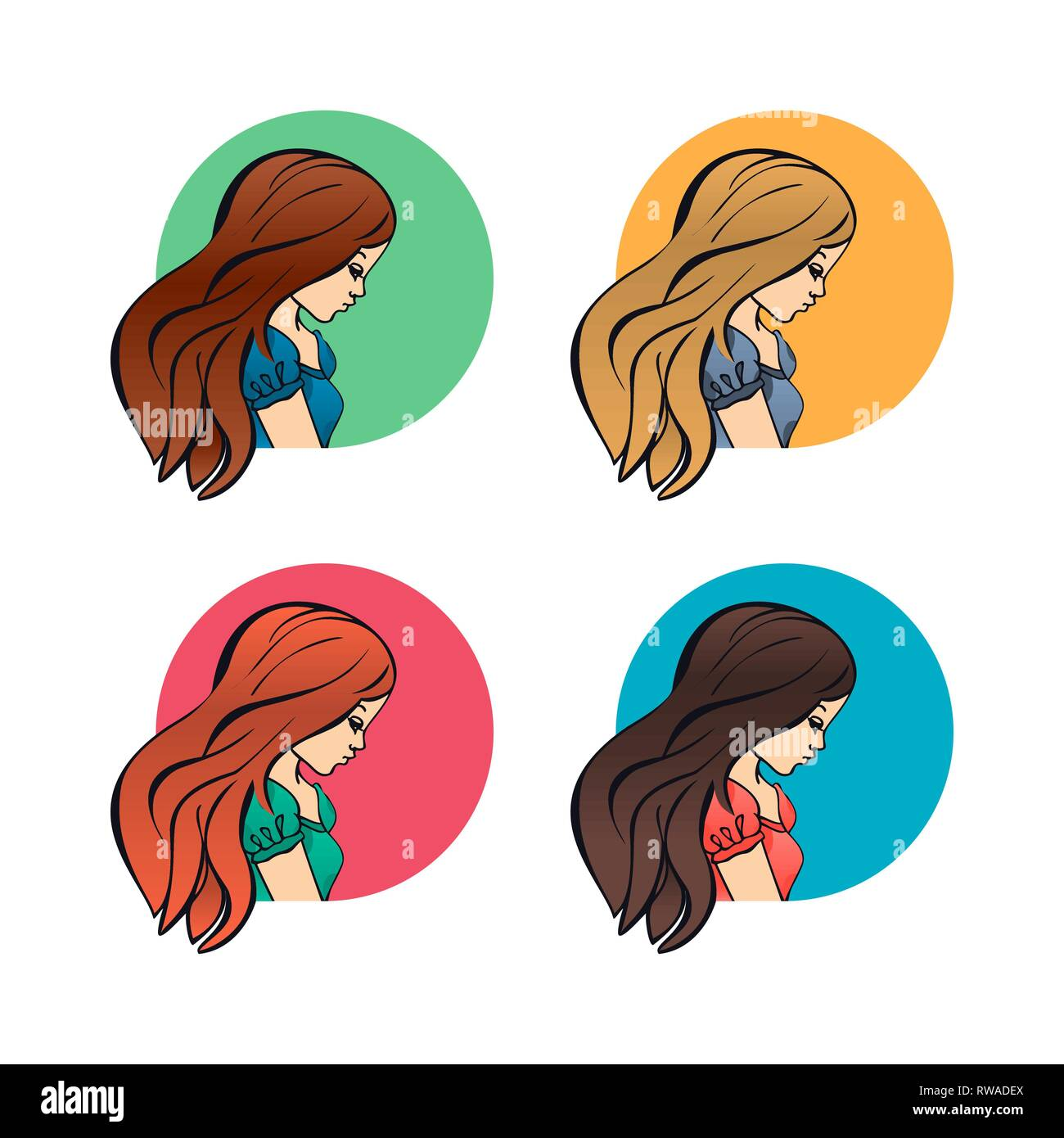Portraits Women Girls Lateral Face Profile And Shoulders Avatars