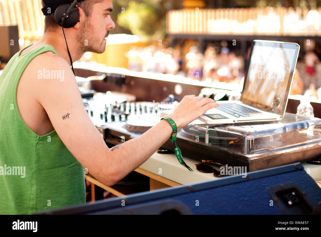 DJ Oneman playing at Hideout festival pool party on Zrce beach, Croatia, by Georgina Cook - Stock Image