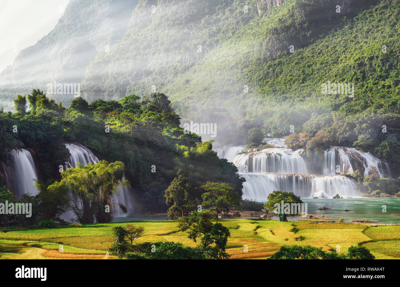 Aerial View Of Ban Gioc Waterfall Cao Bang Vietnam Ban Gioc Waterfall Is One Of The Top 10 Waterfalls In The World Stock Photo Alamy