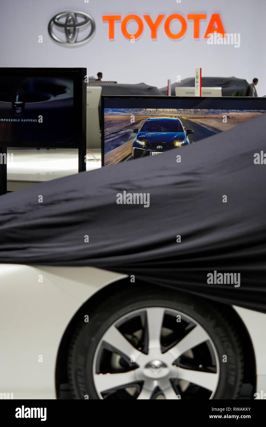 First press day at Geneva Motor Show, Geneva, Swiss - Stock Image