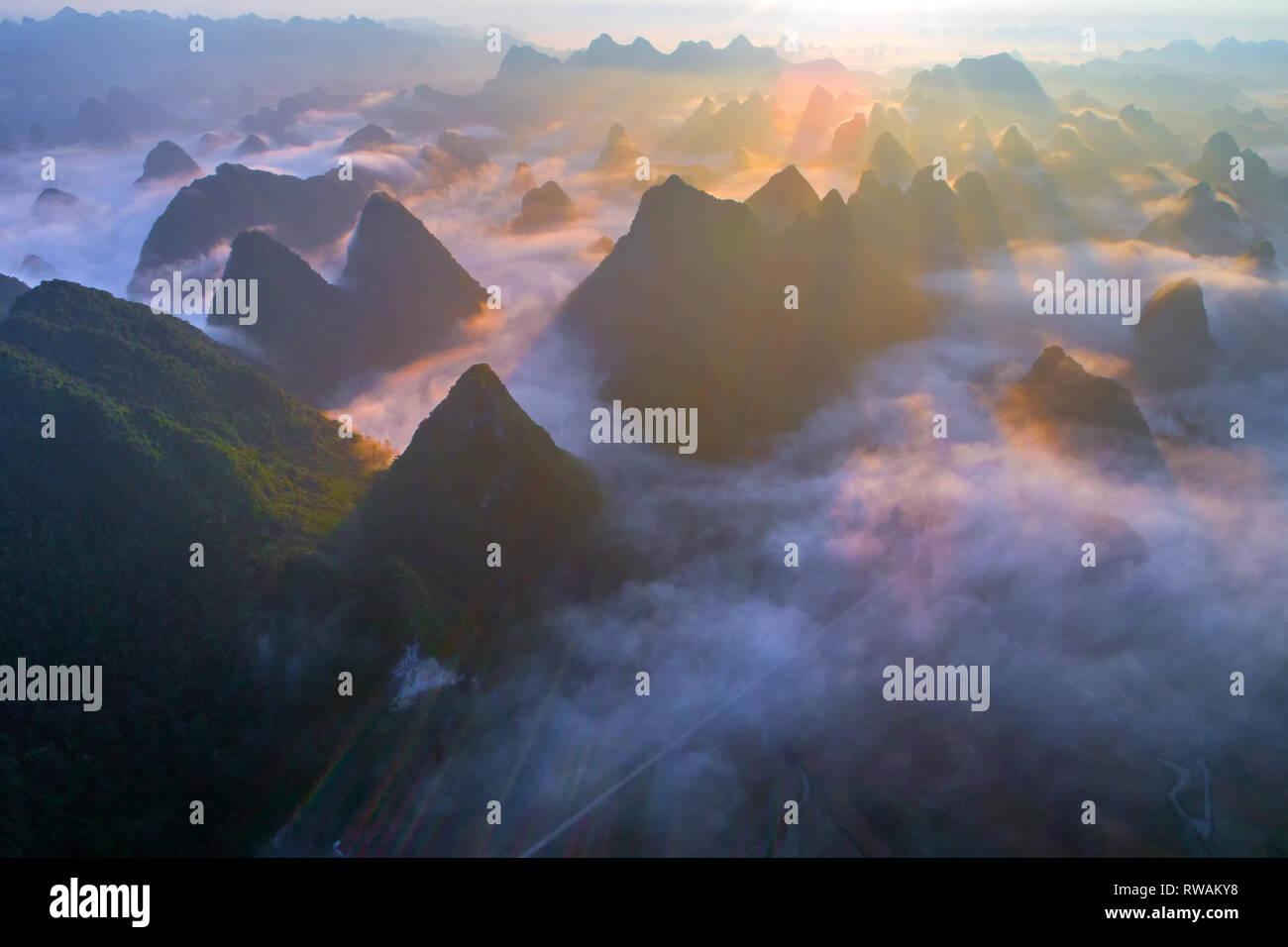 Aerial view of dawn on mountain at Ngoc Con ward, Trung Khanh town, Cao Bang province, Vietnam - Stock Image