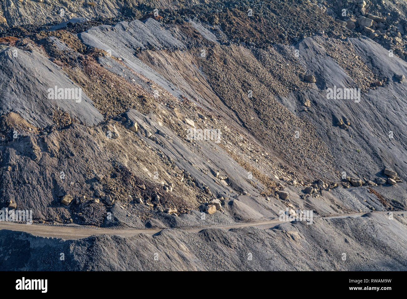 full frame hillside spoil heap scenery Stock Photo
