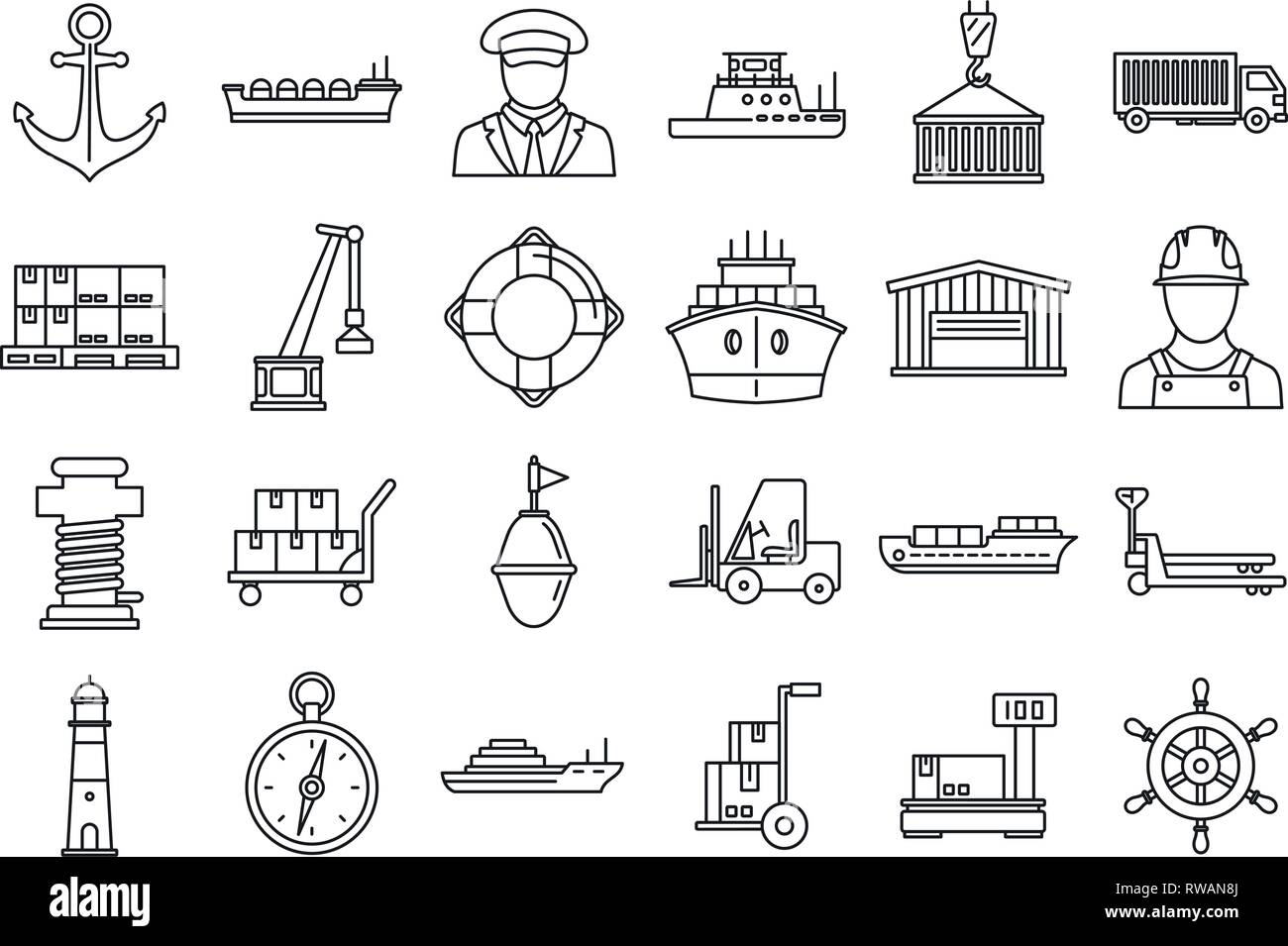 Marine port transport icons set. Outline set of marine port transport vector icons for web design isolated on white background Stock Vector