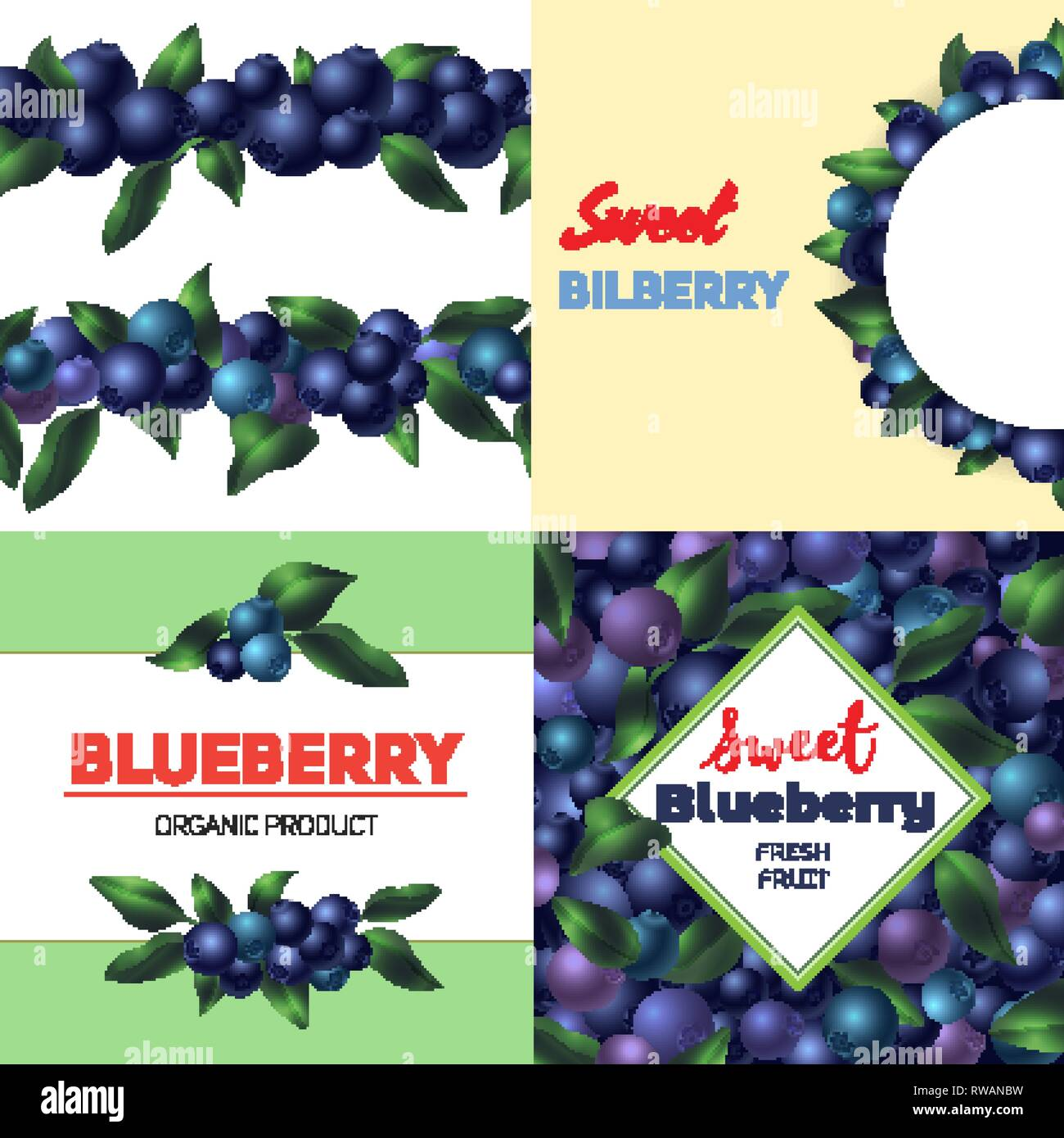 Bilberry banner set. Cartoon illustration of bilberry vector banner set for web design - Stock Vector