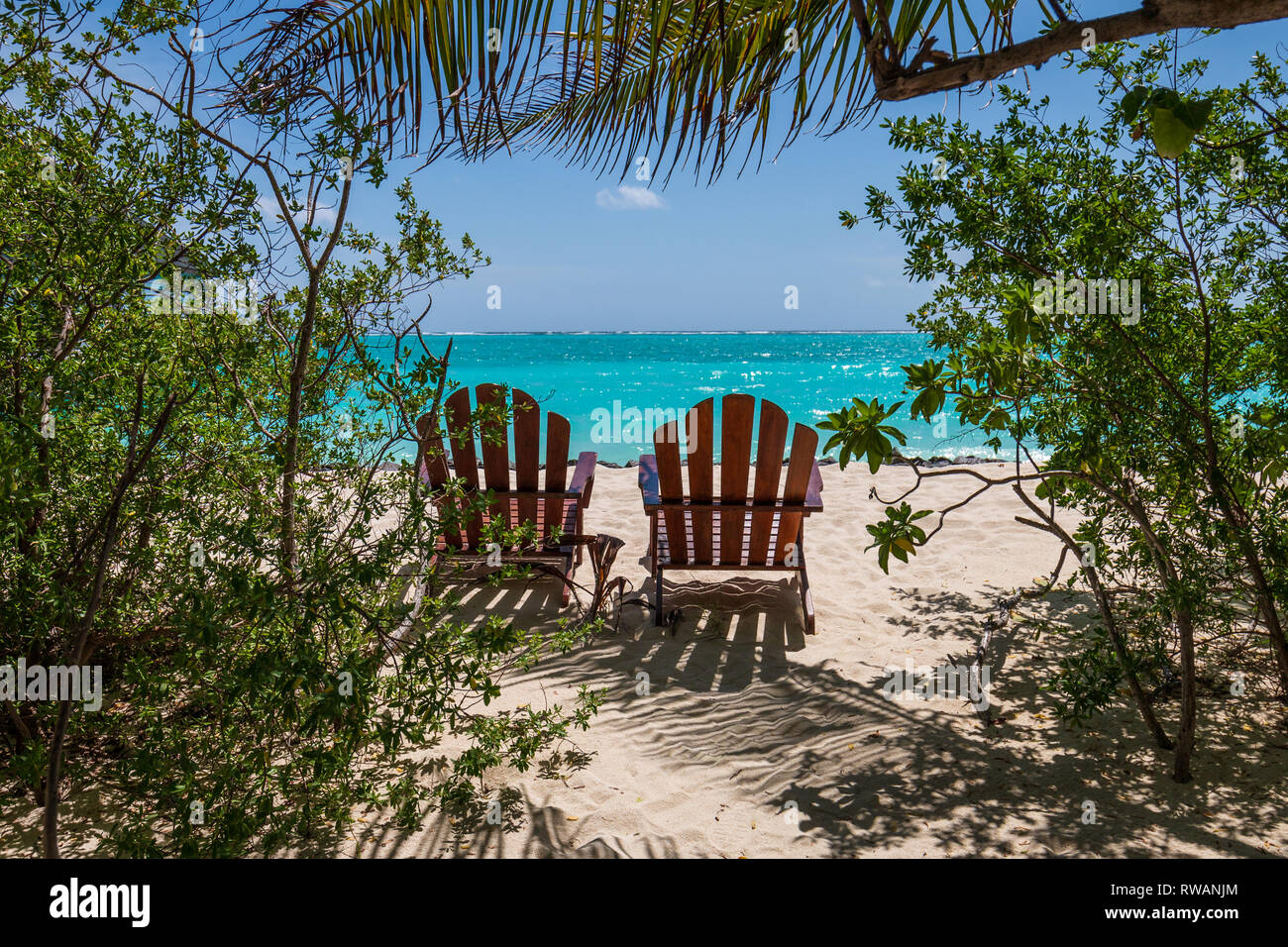 beach chairs on the maldives - Stock Image