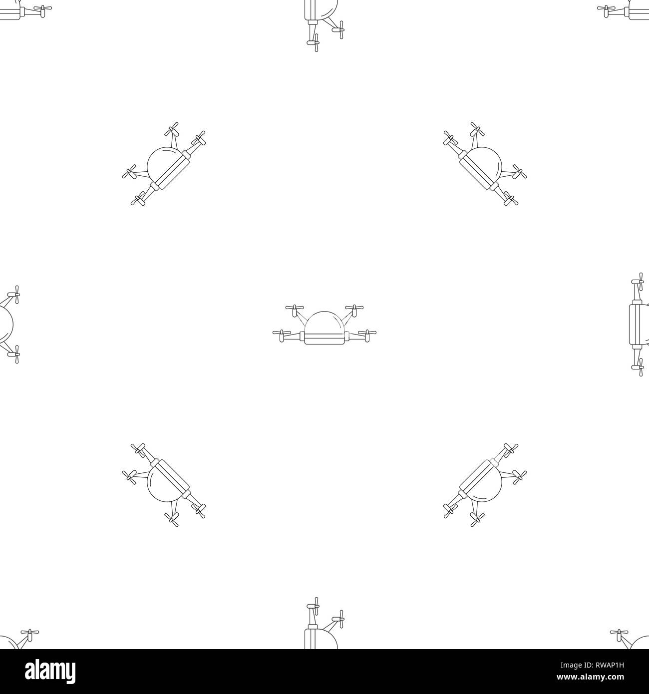 Small drone pattern seamless vector repeat geometric for any web design - Stock Image
