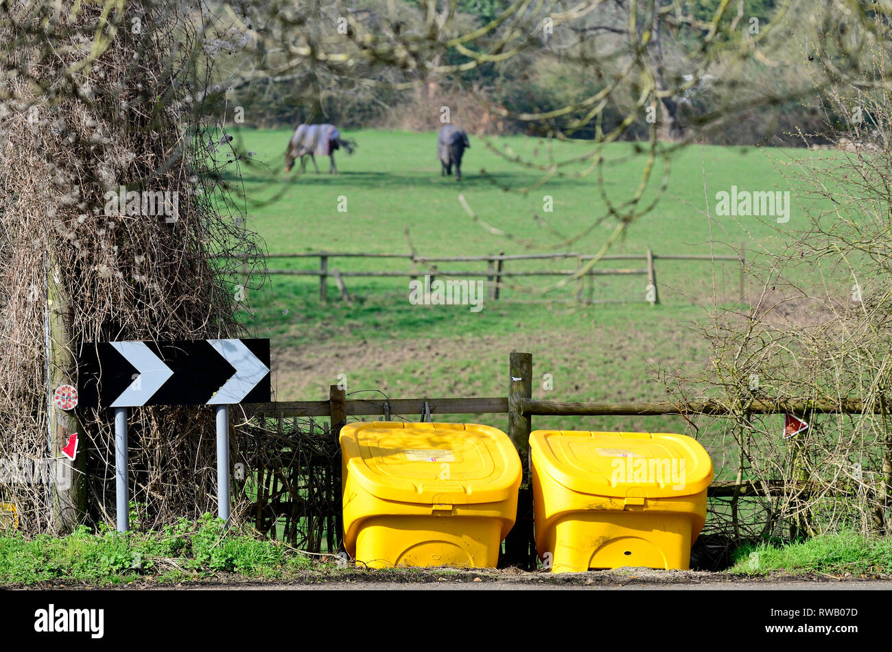 Loose Village, Kent, UK. Grit / salt dispensers in the spring - Stock Image