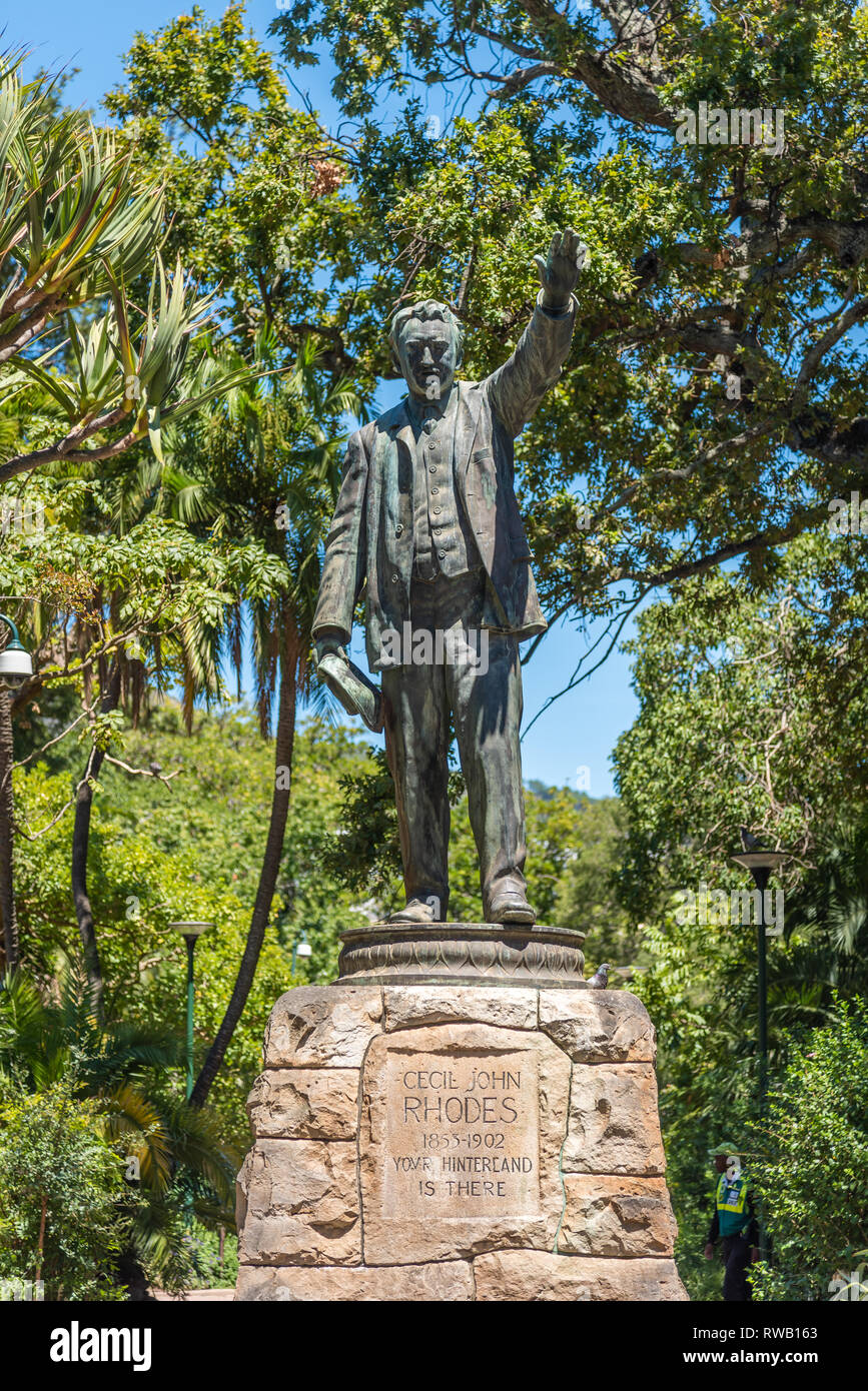 Statue of Cecil Rhodes in The Company's Garden, Cape Town, South Africa Stock Photo