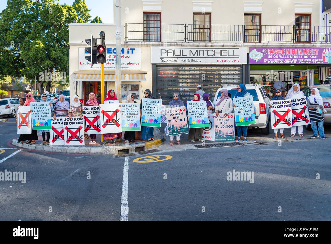 Locals protesting against the gentrification of the Bo-Kaap area in Cape Town, South Africa - Stock Image