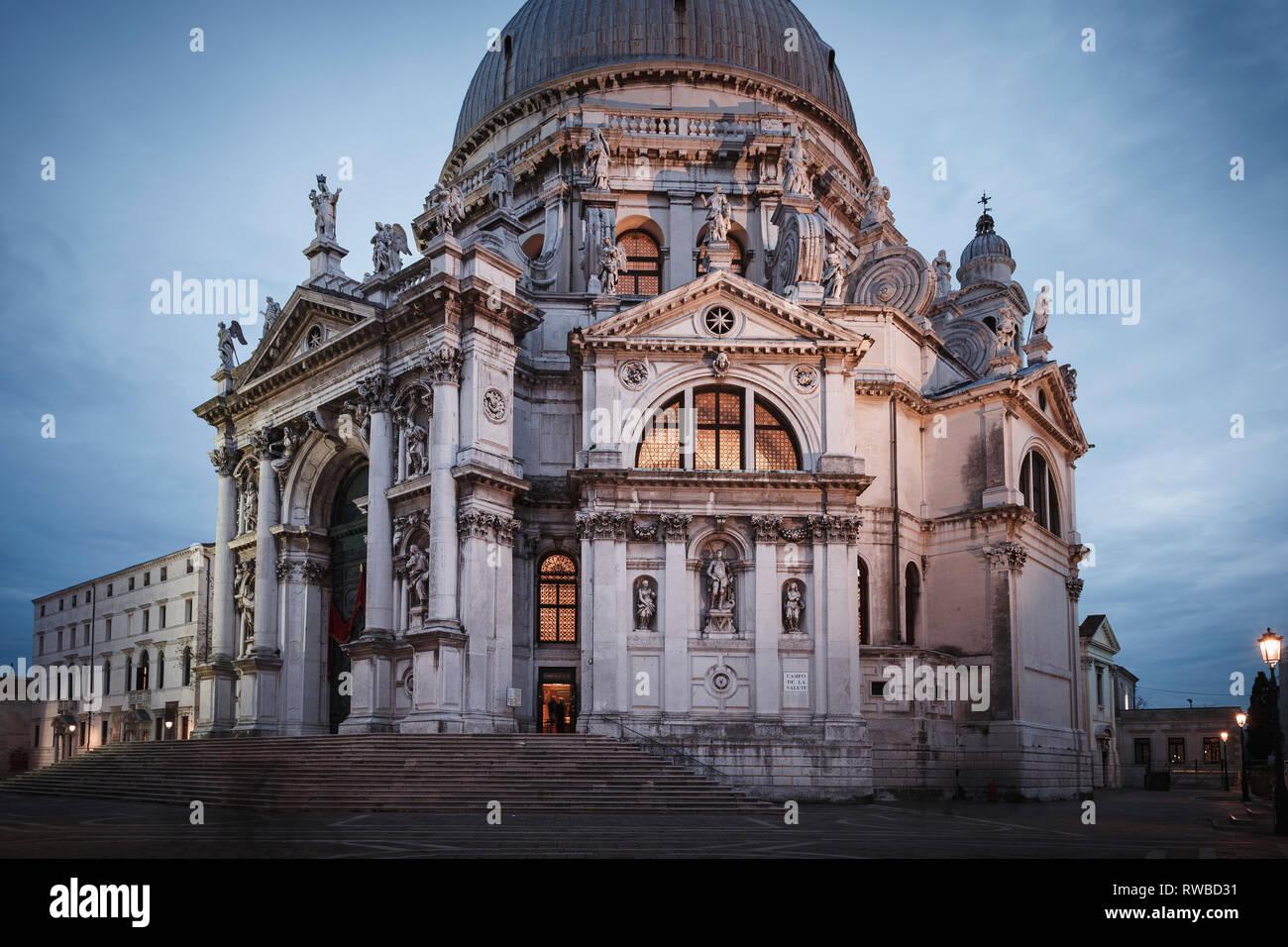 Santa Maria della Salute church in the evening, Venice, Italy - Stock Image