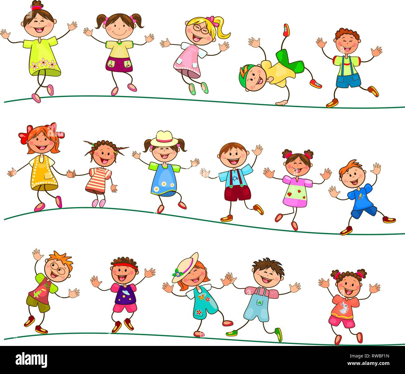 Group of cheerful, smiling children on a white background. Cartoon joyful children. Group of happy, smiling children. - Stock Vector