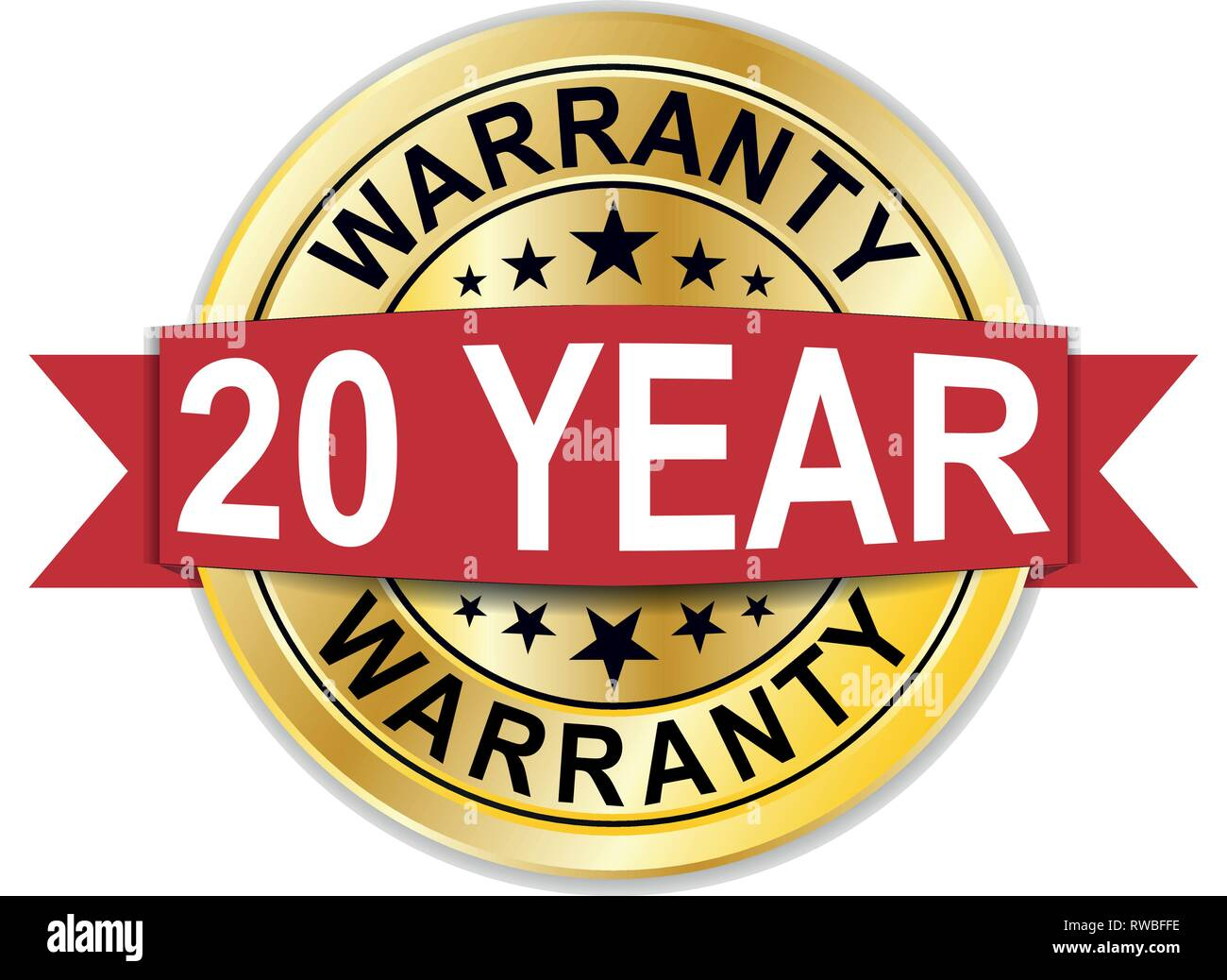gold 20 year warranty round medal web seal - Stock Vector