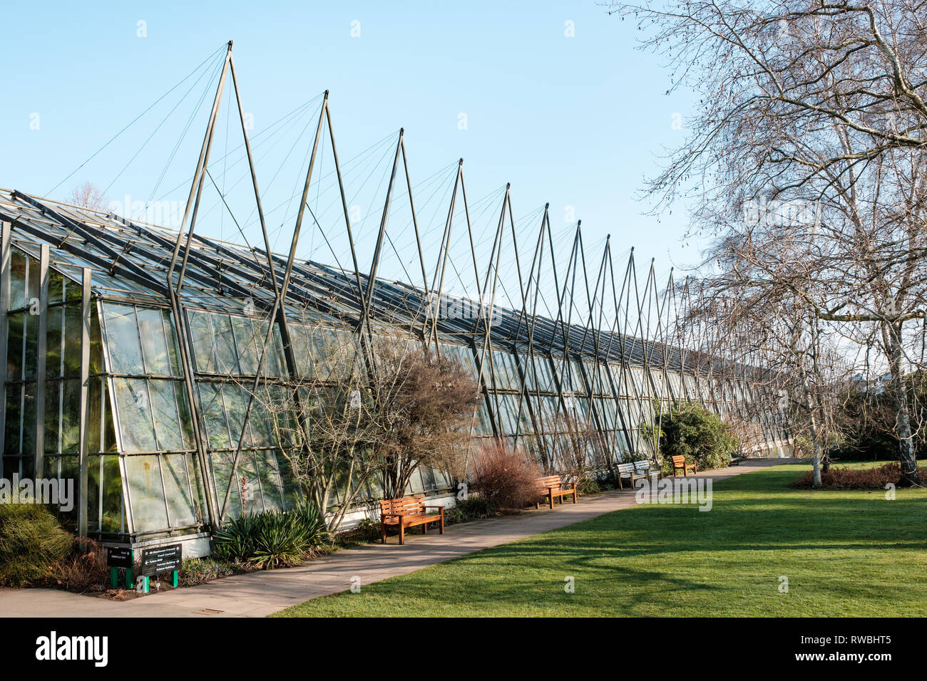 Exterior of the glasshouse at the Royal Botanic Garden on a sunny day, Edinburgh, Scotland Stock Photo